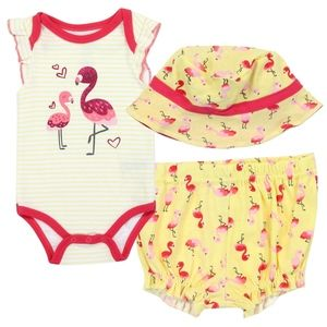 🎁✨Girl's Flamingo Themed Onesie Hat Shorts Outfit